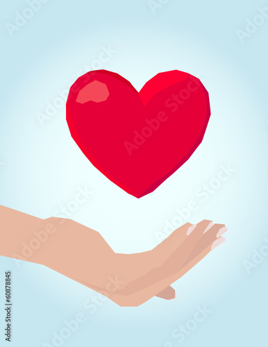 Women hand, care of heart