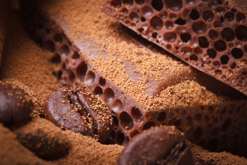 macro porous chocolate with cocoa powder and coffee