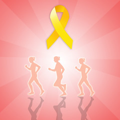 March for Endometriosis with yellow ribbon