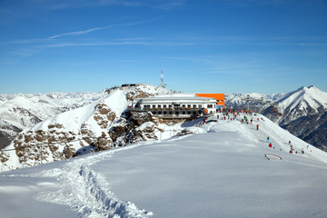 Cable car station on top of Stubnerkogel in Gastein ski region
