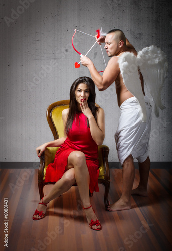 Cupid hitting for a love moment