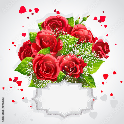 Card for Valentine's Day Heart of red roses