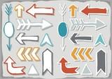 kolorowe strzałki na szarym tle zestaw kształtów