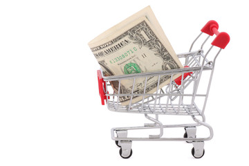 shopping cart with one dollar banknote