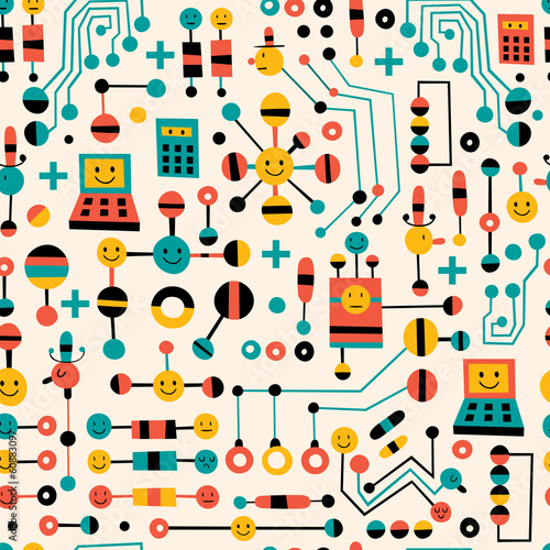 cartoon circuit board pattern