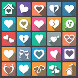 Heart Icon Set Flat