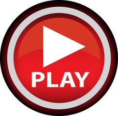 Красный векторный знак с надписью PLAY