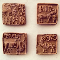 Ancient civilization drawings on clay bricks