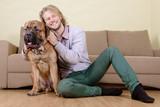 man with big dog