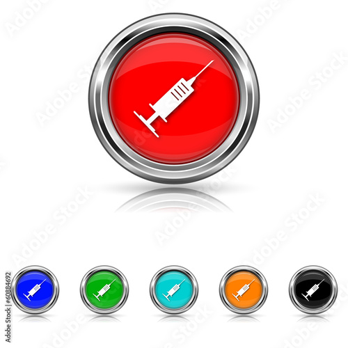 Syringe icon - six colours set