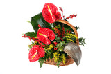 Colorful flower bouquet arrangement isolated on white.