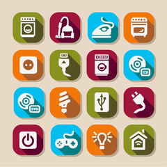 electronic devices long shadows icons