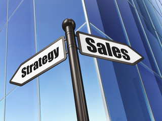 Marketing concept: sign Sales Strategy on Building background
