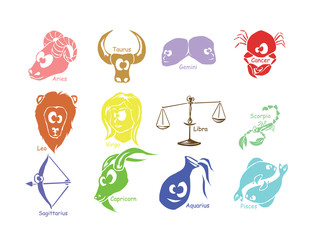 Set of funny astrological zodiac symbols - Horoscope signs.