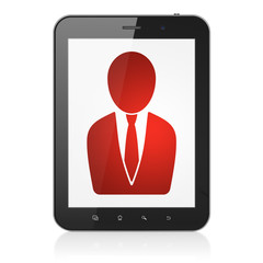 News concept: Business Man on tablet pc computer
