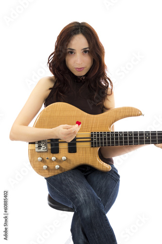 Bass player woman