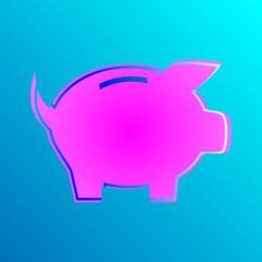 Różowo-niebieska świnka wektor
