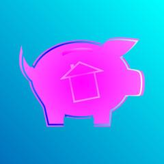 Różowa świnka z domkiem