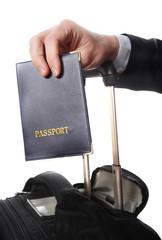 business man hand close up holding passport
