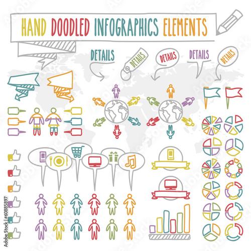 Elementos para infografía garabateados a mano