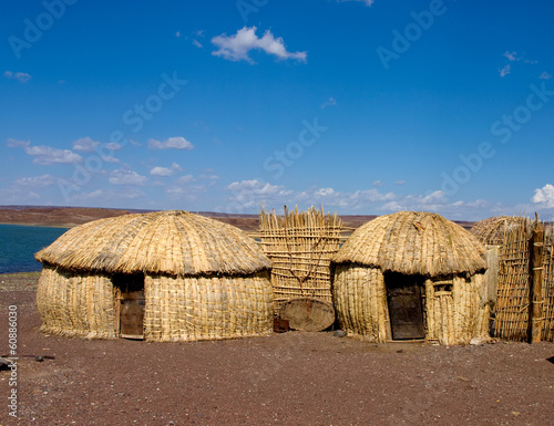 Traditional african huts, Lake Turkana, Kenya