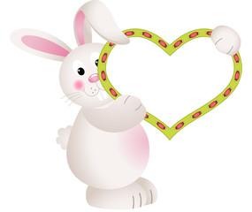 Cute Bunny Holding Blank Heart