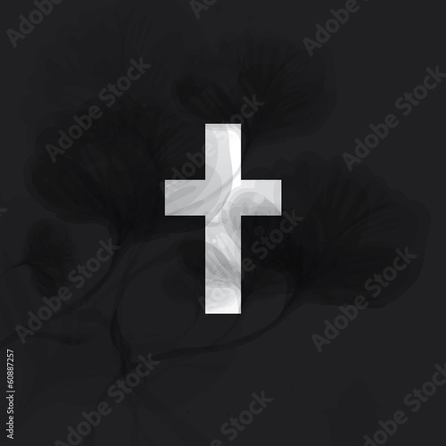 Condolence / Elegant monochrome card with floral Cross