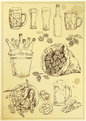 hand drawing beer set