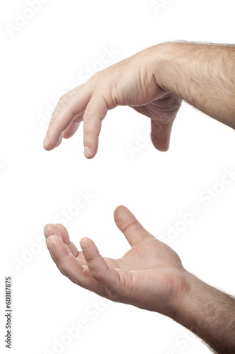 two male hands as holding something concept