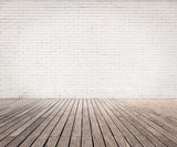 Fototapety white bricks wall and wood floor