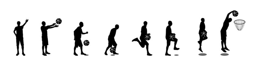 Set of Basketball Players Vector Illustration
