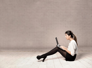 young business woman using a laptop