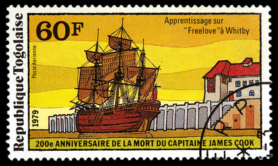 Stamp shows a research vessel of James Cook expedition