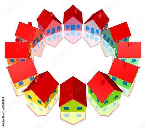 Häuser, Siedlung, verschiedene Anstriche