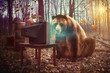 Lonely Bear Watching Television in Woods - 60889070