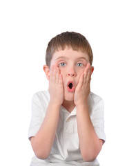 Child In Fear and Shock on White Background