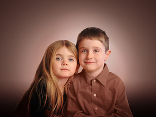Children Portrait on Brown Background