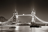 Tower Bridge at night in black and white - 60889458