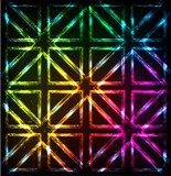 Shining neon lights rainbow squares background