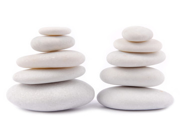 white stone pebble zen isolated on white