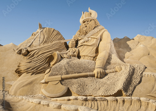 Large sand sculpture of Norse viking