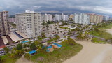 Aerial footage of beachfront condos