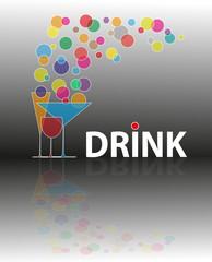 illustrazione per bar o ristorante con bicchieri colorati