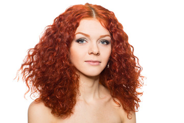 Beautiful girl with red hair.