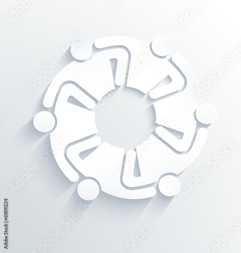 Group of People Team 6 hugging each other. 3D White Label Vector