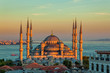 Leinwandbild Motiv Blue mosque in Istanbul in sunset