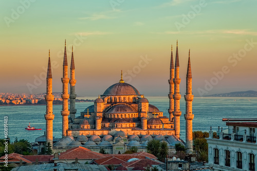 Aluminium Turkey Blue mosque in Istanbul in sunset