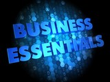 Business Essentials on Digital Background.