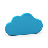 Blue cloud icon, 3d