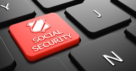 Social Security on Red Keyboard Button.